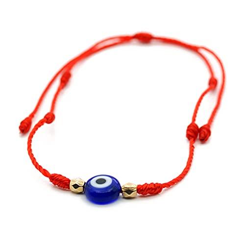 Pulseras para mujer, unisex, cuerda tejida a mano, pulsera de cuerda roja de la suerte, dije de ojo maligno y pulsera ajustable para parejas
