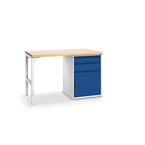 bott verso+ Systemwerkbank mit 2 Schubladen und 1 Tür, 40 mm Rotbuche-Arbeitsplatte, 1500 x 750 x 940 mm, 1 Stück, 41020014.11