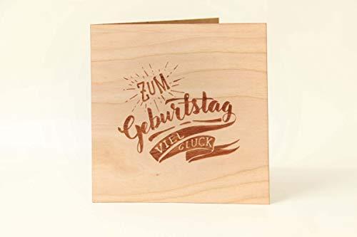 Holzgrußkarten Glückwunschkarte zum Geburtstag - 100% Made in Austria - Karte besteht aus Kirschholz - geeignet als Karte zum Geburtstag bzw. Birthday, Geburtstagskarte, Geburtstagsgeschenk uvm.