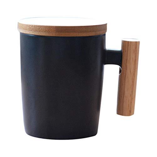PINGZIJIA Japan Art Kurze Reise Kaffeetasse Keramik Porzellan Milch Becher Kaffeetasse mit Holzgriff Deckel Tonwaren Wasser Tee Schalen GIF @ Black