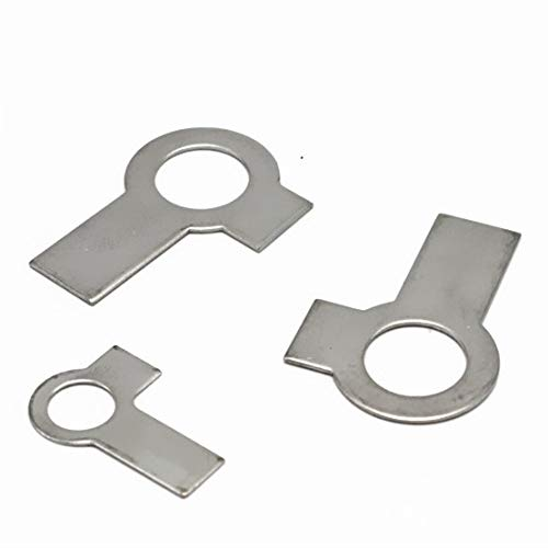 WSHR-07166 M6/M8/M10/M12-M36 GB855 Tab Washers with Two Tabs 304 Stainless Steel Locking Wash with Double Wing - (Inner Dia: M8 50Pcs)