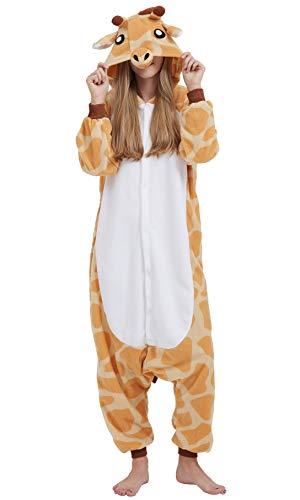 Jumpsuit Onesie Tier Karton Fasching Halloween Kostüm Sleepsuit Cosplay Overall Pyjama Schlafanzug Erwachsene Unisex Lounge, Orange, Erwachsene Größe M - für Höhe 156-167CM