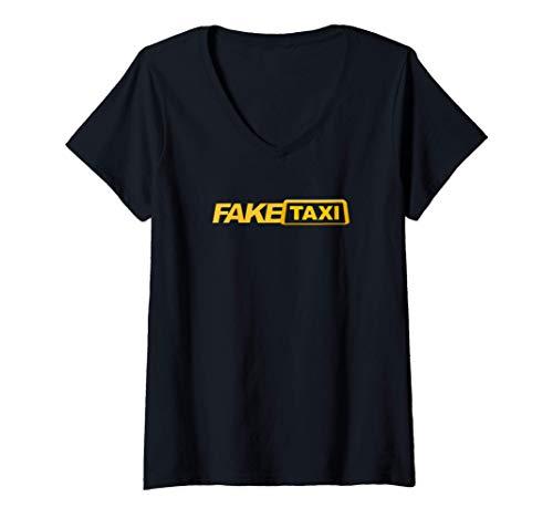 Mujer Diseo grfico amarillo divertido | Disfraz de camiseta de Camiseta Cuello V