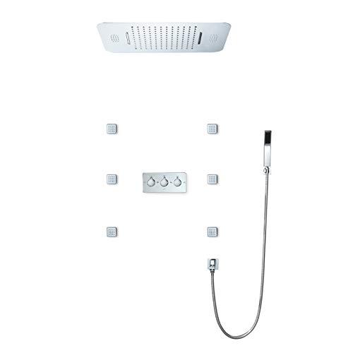 Sistema De Ducha Sistema De Ducha De Lluvia Musical 64 Colores LED Conjunto Combinado De Ducha Baño Termostático Juego De Grifos De Ducha para Baño