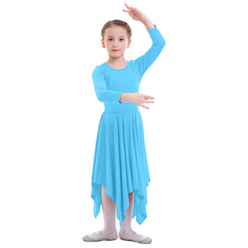 OBEEII Vestido de Liturgico Danza Niñas Vestido Maillot Leotardo Gimnasia Disfraz de Baile Clásica Combinación para Bautizo Danza Iglesia Ceremonia Casual 001 Azul 13-14 Años