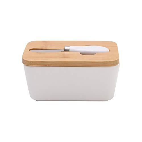 Beurrier en céramique avec couvercle en bois et coupe-beurre, boîte de conservation de la nourriture, du fromage, récipient à beurre pour cuisine et maison