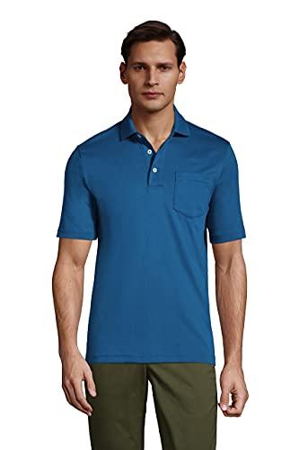 Lands' End Men's Short Sleeve Super Soft Supima Polo Shirt with Pocket