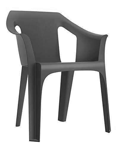 RESOL Cool Set 4 Sillas de Jardín con Reposabrazos Apilable | Terraza, Patio, Exterior, Comedor, Reuniones | Diseño Moderno Ligera y Resistente Filtro UV - Color Gris Oscuro