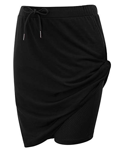 JACK SMITH Black Short Knitting Skirts for Women Elastic Waist Plus Size (XL,Black)