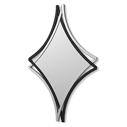 DekoArte E017 - Espejos Decorativos Modernos De Pared | Espejos Decoración para Tu Salón Dormitorio, Entrada, Recibidor | Espejos Sofisticados Grandes Color Plata y Negro | 1 Pieza 110 x 70 cm