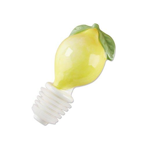 Kate Aspen 23164NA Cheery & Chic Lemon Wine Bottle Stopper, One Size, Yellow/Green/White