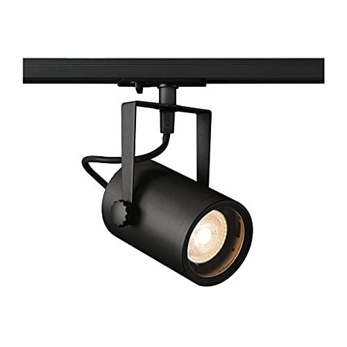 SLV 1001861 triphasé EURO TRACK, spot LED, projecteur plafond, plafonnier, système sur rails, éclairage d'intérieur/GU10 25W noir, Aluminium, 0 W, GU10-Fassung