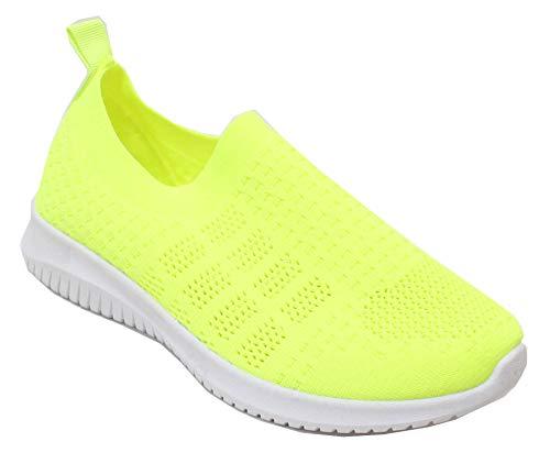 Damen-Sneaker, klassisch, bequem, atmungsaktiv, Netzgewebe, gestrickt, leicht, Gelb (gelb), 38 EU