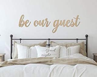BE Our Guest MDF Plaque Painted Cutout Ready to Hang Home Decor Wall Art White 12 X 4 INCH