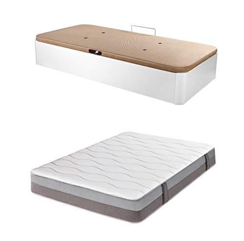 DHOME Pack Canape abatible tapizado 3D con Apertura Lateral Madera + Colchón viscografeno, Reversible (105x190 Blanco, 22mm Ap. Lateral + Colchón)