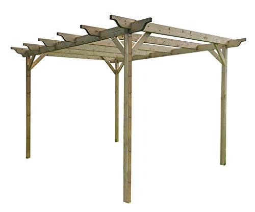 Wooden Garden Structure Pergola 2.4m x 2.4m - 4 Posts - Light Green - Sculpted Rafters - Hand Made Arbour From Pressure Treated Timber