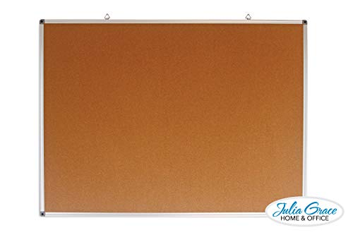 Large Cork Board 48 x 36 Inches | Silver Aluminum Frame Bulletin Board | Wall Mounted Notice Board | Tack Board Perfect for Office