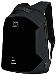 Vebeto Anti Theft Backpack with USB Charging Port 15.6 Inch Laptop Bagpack Waterproof Casual Unisex Bag for School College Office Suitable for Men Women (Black),Vebeto,DO_AT_3L_BLK_01