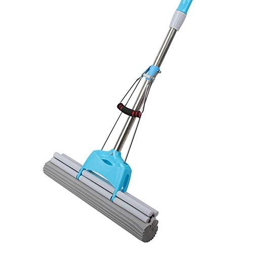 ZRDSZWZ Aspirador confiable profesional de microfibra reutilizable limpiador de mopa de piso de microfibra con mango extensible para suelo de baldosas de madera dura (color: azul, tamaño: 120 cm)