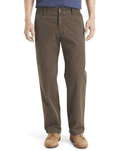 G.H. Bass & Co. Men's Flat Front Canvas Terrain Pant, Olive Brown, 36W x 30L