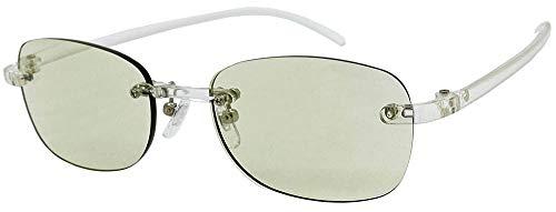 (フェイストリックグラッシーズ) オシャレで軽い老眼鏡 UV/近赤外線/ブルーライトカット鯖江メーカー高性能レンズ老眼鏡 クリアフレーム/ライトグリーンレンズ FTR02-9LG +2.00