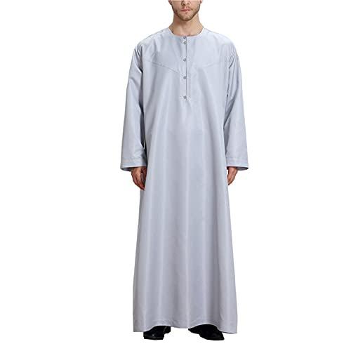 LZJDS Albornoz Árabe para Hombres Oriente Medio Vestido Musulmán Albornoz De Color Sólido Albornoz Pijama Kaftan,Gris,4XL