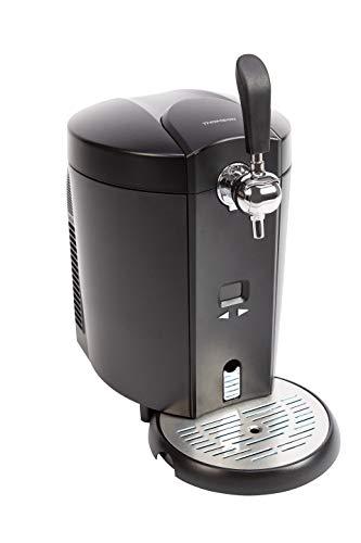 Thomson Kühlung THBD47718 Bierzapfanlage, Zapfanlage für 5 Liter Bierfass, Temperatur regelbar (4 bis 12 °C), zuhause Fassbier zapfen & Bier kühl genießen, Schwarz Silber