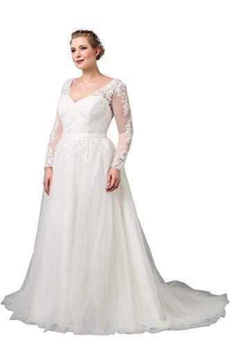 Nanger Damen A Linie Tüll Spitze Hochzeitskleider Große Größen Lange Ärmel Brautkleider Standesamt übergröße Elfenbein 52