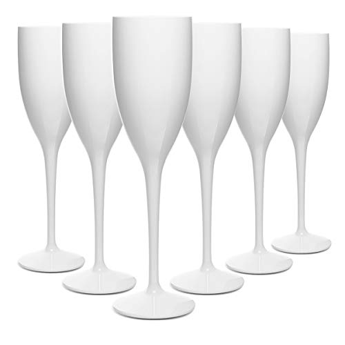 RB Sektglas Weiß Premium-Kunststoff Unzerbrechlich Wiederverwendbar 13cl, 6 Stück