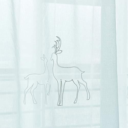 YK TABLECLOTH Verdunkelungsgardinen Grau Stickerei Energiespar & Wärmeisolierend mit Ösen, Transparenter Tüllvorhang Geeignet für Wohnzimmer, Schlafzimmer, Küche 2pcs,Tullecurtains,132 * 160cm