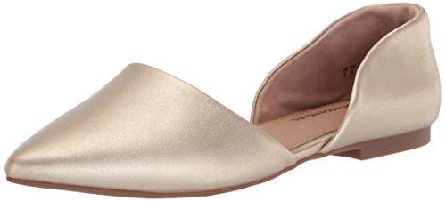 Amazon Essentials Women's D'Orsay Flat Ballet, Gold, 9 B US