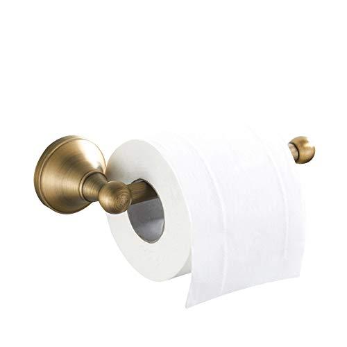 WOMAO Einfach Toilettenpapierhalter mit Trompete Boden, Wandmontieren Klorollenhalter Antik Messing, Alle Messing Konstruktion Wandhalterung zum Bohren