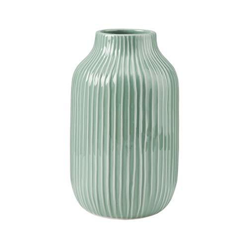Butlers Hanami Vase Ø 13 cm, Höhe 23cm in Minze - japanische Blumenvase als Deko - Rundes Gefäß aus Dolomit - Accessoire