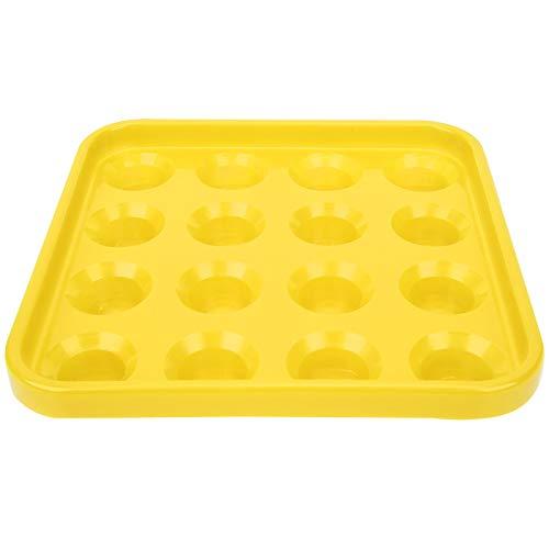 Xndz Plateau de Support de Boule de Billard, Plateau de Boule de Piscine en Plastique de 5,9 x 5,9 x 1,6 Pouces, pour Billard Snooker(Yellow)