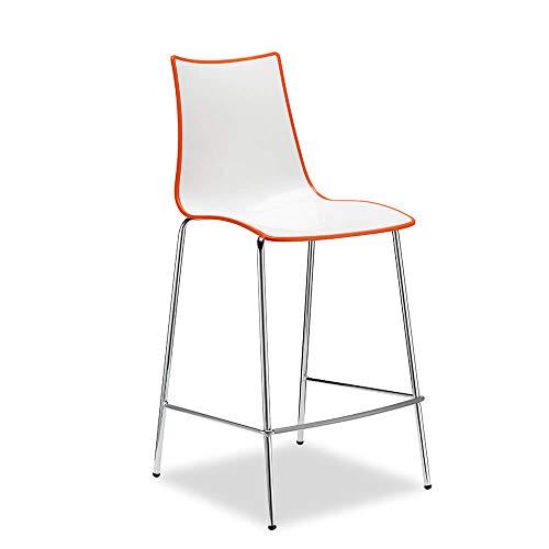 Scab Set 2 Design Zebra Bicolore Tabouret h. 65 cm Blanc-Orange