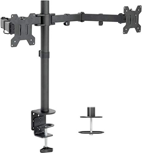 VIVO Dual LCD Monitor Desk Mount Stand Heavy Duty Fully Adjustable fits 2 /Two Screens up to 27' (STAND-V002)