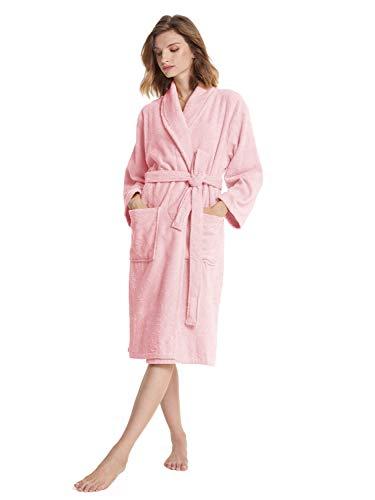 SIORO Bademantel Damen Terry Cotton Robe Warmer Schal Kragen Saugfähiges Handtuch Bademantel Wadenlange Nachtwäsche, Hellrosa Mittel