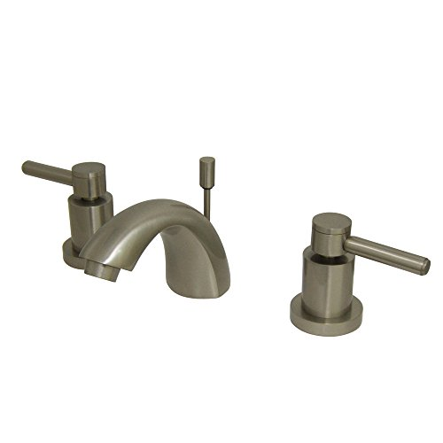 "Elements of Design ES2958DL South Beach 4"" to 8"" 2-Handle Mini-Widespread Lavatory Faucet with Brass Pop-Up, 4-1/2"", Brushed Nickel"