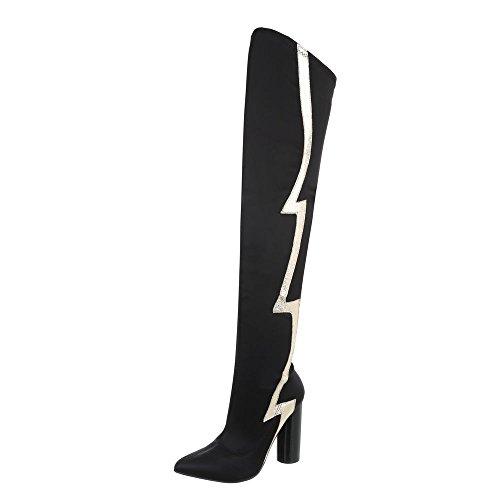 Ital-Design Overknees Damen-Schuhe Overknees Pump High Heels Reißverschluss Stiefel Schwarz, Gr 36, Jr-010-