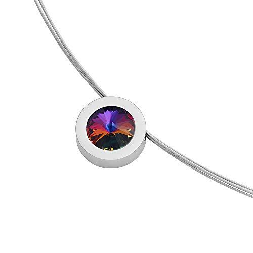 Heideman Halskette Damen Coma 16 aus Edelstahl Silber farbend poliert Kette für Frauen mit Anhänger Stein Kristall Volcano im Fantasie Edelsteinschliff