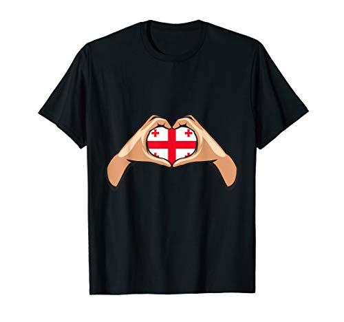 Georgien Flagge Georgische Fahne Hand Herz Zeichen T-Shirt