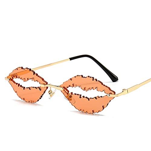 JIANCHEN Gafas de Sol Vintage sin Montura Gafas de Sol Mujeres Hombres Forma de Labio Gafas Moda Steampunk Sol Gafas Sombras Gafas UV400 Oculos Hombres (Color : 3)