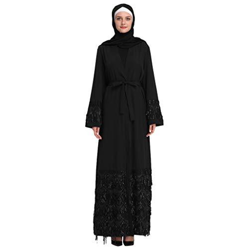 BayYang Muslim Loser Frauen Stickerei und Pailletten Islamisch Kittel,Muslim Kleidung Sommer Lange Ärmel Ramadan Bluse Mittlerer Osten Saudi Arabisch Traditionell Ethnische Kleidung