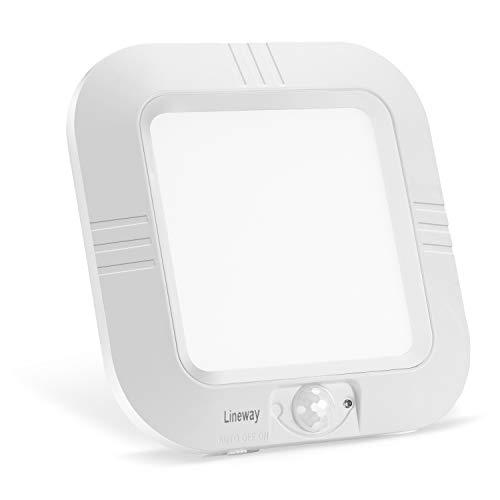 Lineway Deckenleuchte mit Bewegungsmelder Batteriebetrieben LED Deckenleuchte für Innen/Außen 180LM Fotozellensensor für Schrankflur Kellerschrank