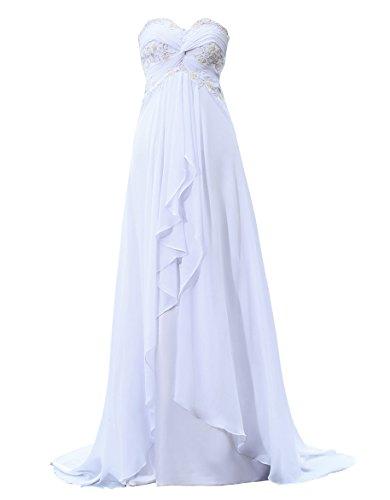Callmelady Schatz Chiffon Bördeln Brautkleider Hochzeitskleider A Linie Lang (Weiß, EU62)
