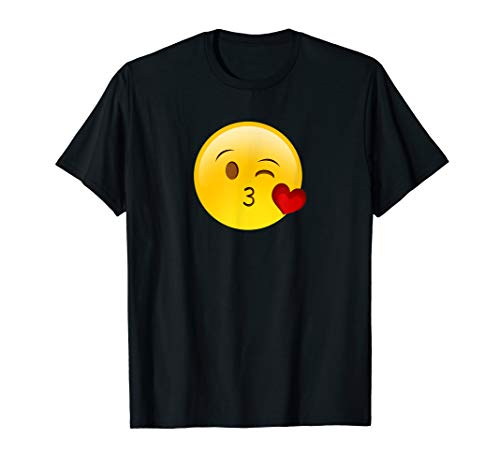 Winky Face Smiley with Heart Kiss Emoji T Shirt