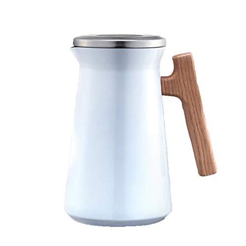 Botella Agua Acero Inoxidable, CAF Jarra Isotermico con Mango De Madera Permite Un Fcil Llenado Y Lavado Botella Aislada para Agua Ideal como Cafetera O Tetera para El Hogar O La Oficina