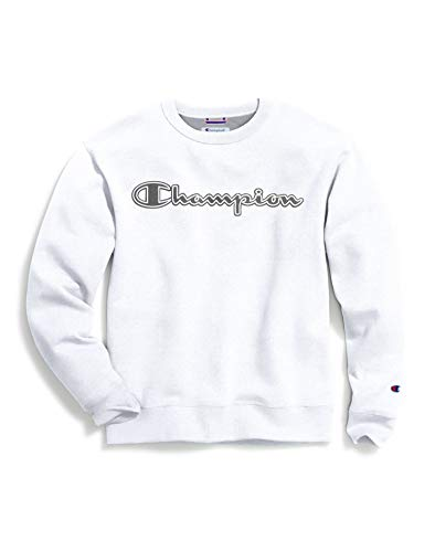Champion Men's Powerblend Applique Crew, White, Medium