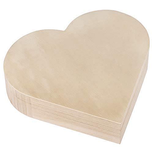 Rayher 62841505 Holz-Box Herz, 25,3 x 24 cm, Höhe 6 cm, mit Magnetverschluss, FSC zertifiziert, Herzbox, Herzdose