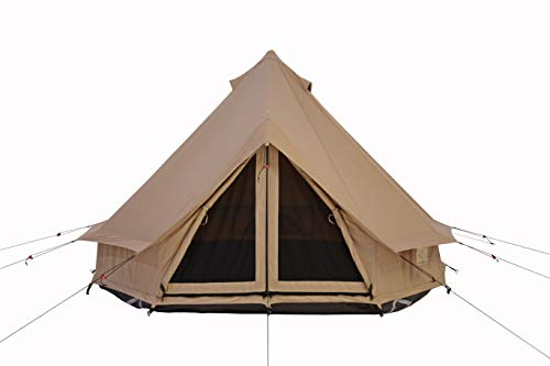 100% Cotton Canvas Lightweight & Instant Bell Tent | 1 person, 2 person Tent | Waterproof, Aluminum Center Pole & door A-frame, 3 Season Camping Tipi Yurt Style Tent (8ft (2.5M), Water Repellent)